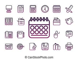 kontor, fodra, stil, sätta, knippe, ikonen