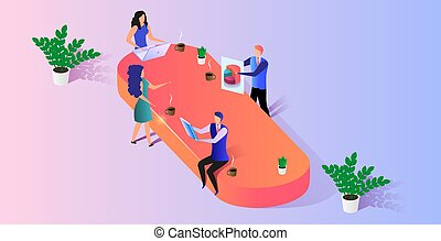 kontor, folk branche, arbejde, sammen, projekt