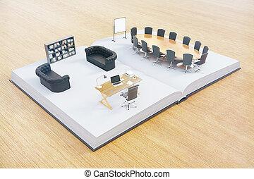 kontor interior, på, bog