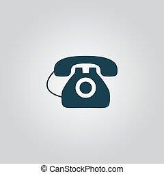 kontor, -, isolerat, telefon, vektor, ikon