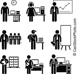 kontor, jobb, ockupationerna, karriärer
