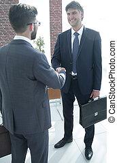 kontor, jurist, affärsman, handslag
