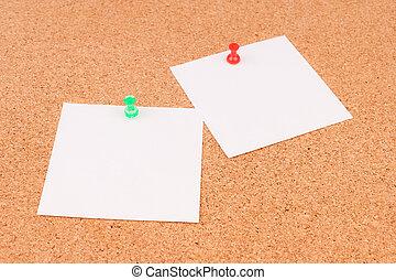 kontor, kork planka, för, noteringen