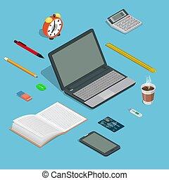 kontor, sätta, devices., kontor