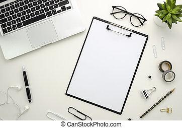 kontor, tillbehör, bakgrund., anteckningsbok, workspace, skrivbord, hem, vit, silver