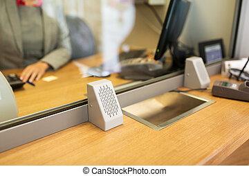 kontorist, hos, bank, kontor, eller, valuta, exchanger