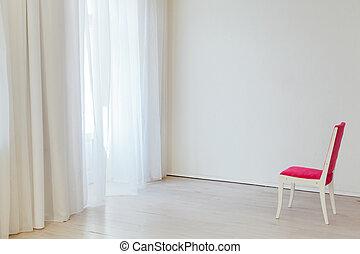 kontorsstol, inre, röd, en, tom, vit