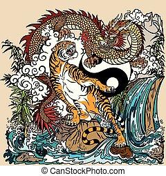 kontra, tiger, yin, sárkány, yang