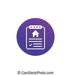 kontrakt, forsikring, ikon, hus