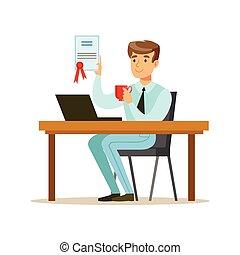 kontrakt, kontor, færdigbehandl, underskrevet, kaffe, beklæde, nydelse, cartoon, funktionær, afdelingen, mand, bogstaverne, arbejdere, series
