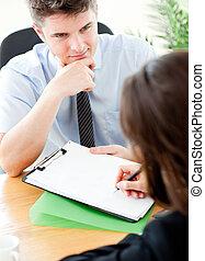 kontrakt, kvindelig, tegn, sælger, kigge, kunde, unge