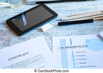 kontrakt, og, branche planlæg