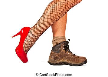 kontrast, mellan, två, skor