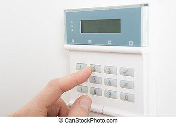 kontrol, kvinde, system, sæt, security til hjem, panel