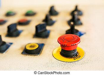kontrol, maskine, knap, holde inde, rød