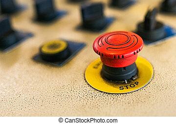kontrol, nødsituation knap, holde inde, button., maskine, rød