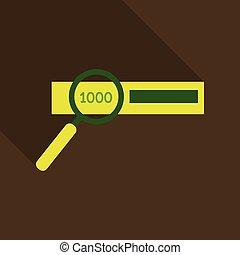 kontrola, pieniądze, tysiąc, halabarda, -, jeden, wektor, autentyczność, icon.