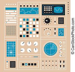 kontroll, abstrakt, instrumentbräda, panel