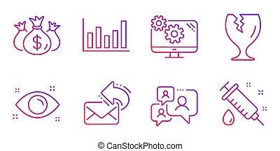 kontroll, bräcklig, kolonn, kolli, ikonen, vektor, kartlägga, investering, hälsa, signs., set., posta, ögon, stöd, dela, pratstund