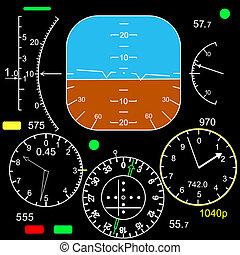 kontroll, cockpit, plan, panel