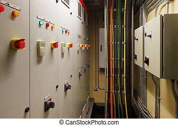 kontroll, elektrisk, rum, mekanisk