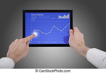 kontroll, hand, touchpad, pc, holdingen, manlig, marknaden, block