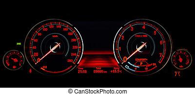 kontroll, hastighet, instrumentbräda