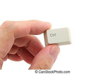 kontroll, holdingen, nyckel, hand
