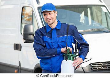 kontroll, insektsmedel, arbetare, mot, lastbil, plåga