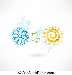kontroll, klimat, grunge, ikon