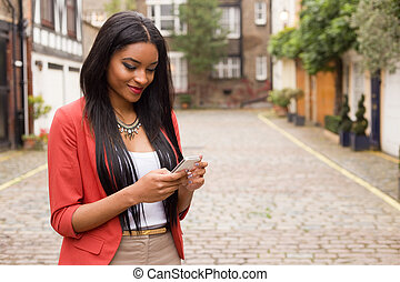 kontroll, kvinna, meddelanden, ung, henne