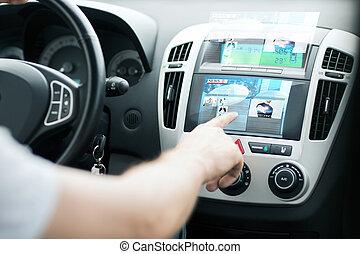 kontroll, läsa, bil, användande, nyheterna, panel, man