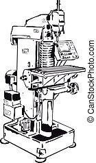 kontroll, maskin, konventionell, fräsning, panel