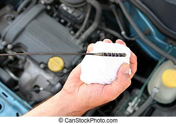 kontroll, motor olja, oljesticka, i bil