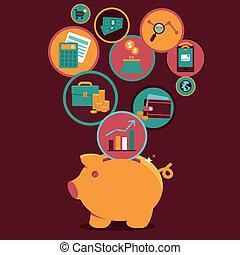 kontroll, personlig, administration, finans, vektor