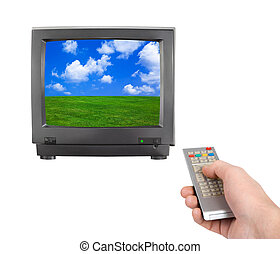 kontroll, television avlägsna, hand