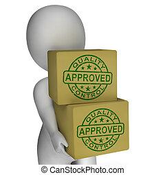 kontroll, visande, frimärken, produkter, utmärkt, kvalitet,...