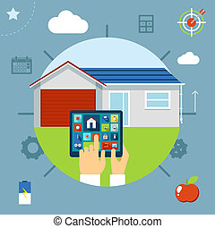 kontrollerede, raffineret, hus, tablet, begreb