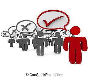 kontrollieren, viele, markierung, person, falsche , vs, vortrag halten , eins, blase, korrekt