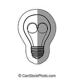 kontur, lök, hjärna, elektrisk, ikon