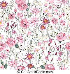 kontur, lato, kwiaty, seamless, próbka