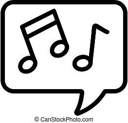kontur, odizolowany, wiadomość, ikona, symbol, vector., dźwiękowy, ilustracja