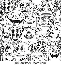 kontur, rysunek, seamless, potwory