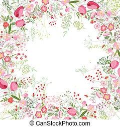kontur, skwer, róże, zioła, tulipany, ułożyć, biały