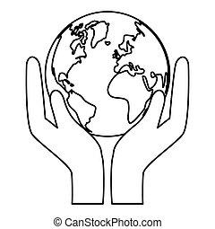 kontur, värld, natur, conservancy, ikon