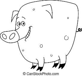 konturowany, świnia