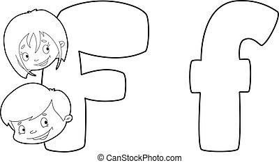 konturowany, f, litera, twarz