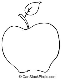 konturowany, rysunek, jabłko