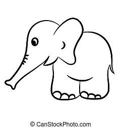 konturowany, słoń