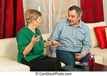konversation, äldre bemanna, ha, läkare